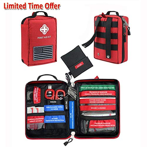 FUNANASUN First Aid Kit Soft Case Molle Medical EMT Pouch Bag Waterproof for Home School Car Office Emergency Camping Hunting Sports (Red-Small (7