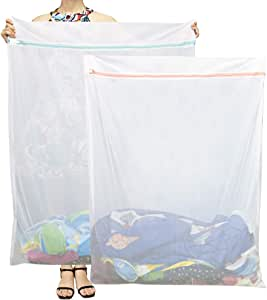 Tenn Well Extra Large Mesh Laundry Bags, 2 Pack 43.3 in x 35.4 in Heavy Duty Net Washing Bags with Zipper for Delicate Clothing, Toys, Bedding, Curtain