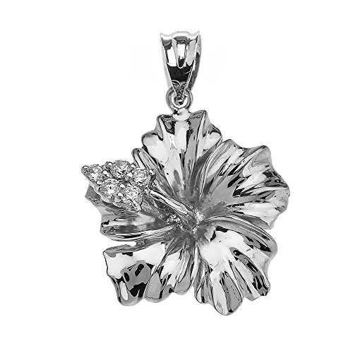 Flower Collection Sterling Silver Caribbean Hibiscus (Malvaceae) Cubic Zirconia Pendant ()
