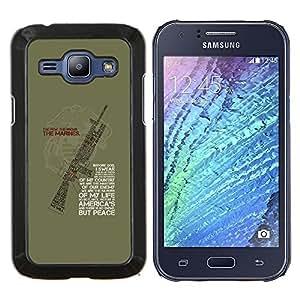 EJOOY---Cubierta de la caja de protección para la piel dura ** Samsung Galaxy J1 J100 ** --arma soldado guerra cotización máquina verde