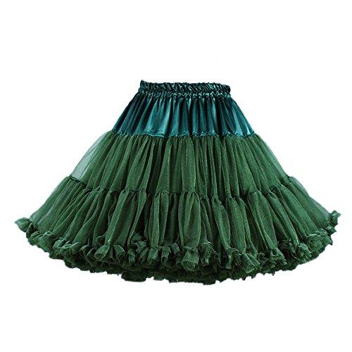 PhilaeEC Femmes Ruffled Multi-layer Mousseline de Soie Jupon Lolita Jupe Ballet Tutu Vert Fonc