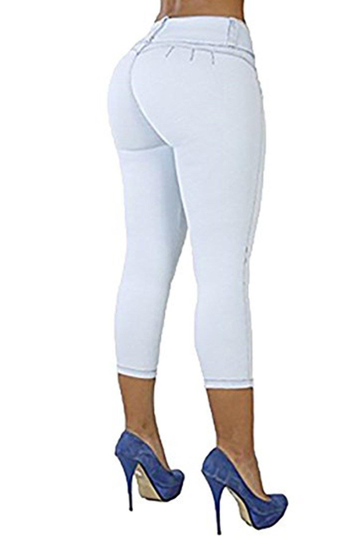 Meilidress Elastic Women Casual Capri Jeans Skinny Trendy Brazilian-Style Jeans Stretch Pencil Denim Pants