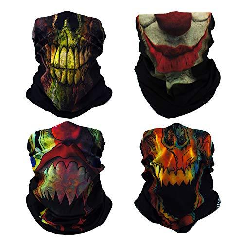 New Joker Face (4x Joker Skull Multifunctional Elastic Seamless Headwear Bandana Headband Half Face Mask Scarf Neck UV Sun Protection Windproof Dustproof Motorcycle Bike Airsoft Paintball Hunting Hiking)