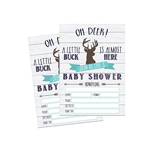 50 Fill in Deer Baby Shower Invitations, Baby Shower Invitations Hunting, Camping, Camo, Buck, Rustic, Neutral, Woodland Baby Shower Invites for Boy, Baby Invitation Cards Printable