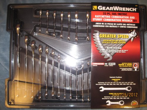 GearWrench Combination Ratcheting Wrench Set With Stubby Wre