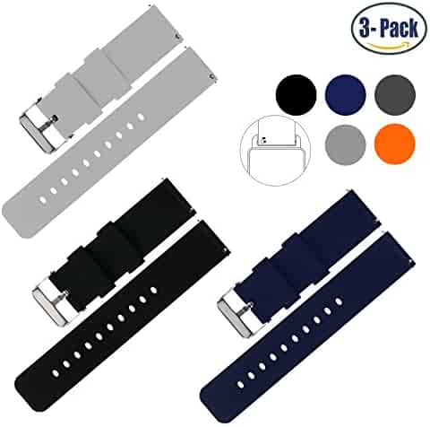 Vetoo 22mm Silicone Watch Bands, Silky Soft Quick Release Rubber Straps for Men & Women, Black/Light Gray/Navy, Packof 3