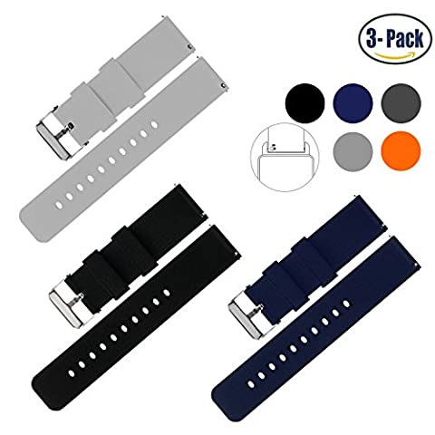 Vetoo 22mm Silicone Watch Bands, Silky Soft Quick Release Rubber Straps for Men & Women, Black/Light Gray/Navy, Packof (Pebble Steel Black Watchband)