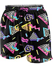 XSKY Mens 80s Or 90s Swim Trunks Quick Dry Swim Shorts with Mesh Lining Board Shorts 80s Costumes for Men