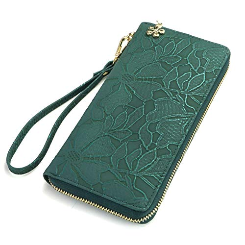 Women's Wallet soft leather wristlet wallet Phone holder designer Ladies Clutch Long Purse large Zipper wallet with Wrist Strap green