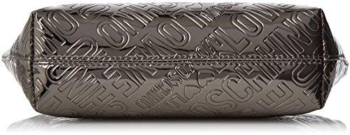 Love Moschino Bustina Embossed Patent Pu Peltro - Pochette da giorno Donna, Grau (Pewter), 14x24x7 cm (B x H T)