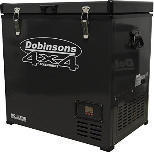 Dobinsons 4x4 80 Liter Dual Zone 12V Portable Fridge Freezer, Freezes and Refrigerates at same time, Includes Free Cover Bag