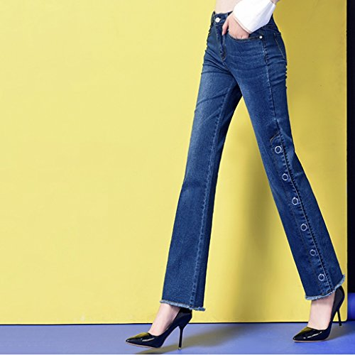 J Punti Forcella A Micro Pantaloni Alta Per Grandi Nove Elastico Micro Campana Di Foro Dimensioni Vita corno Blue Più Fertilizzante Jeans Nappa Aumentare Donna 5RqBaxxW