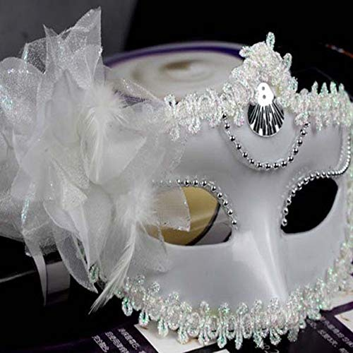 Party Masks - Sexy Venetian Masquerade Masks Halloween Party Princess Lace Feather Ball Pattern Women Half Face - Gras Color Purple Pink Bundles Pack Face Gold Half Mardi Glasses Masquerad ()