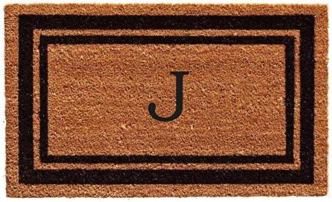 Calloway Mills 152962436J Black Border 24 x 36 Monogram Doormat, Letter J