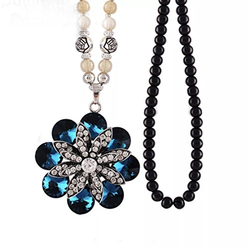 Flower Bead Necklace (Nataliya Pendant Statement Necklace (Crystal Flower Black Bead))