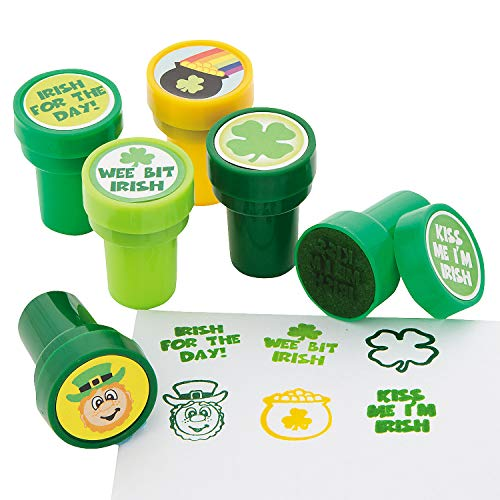 St. Patrick's Day Shamrock Stampers - 24 Stampers Per Order - Non Toxic - Assorted Designs - 1 1/2 Inch Stamps