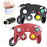 Poulep 2 Packs Classic Wired Gamepad Controllers for Wii Game Cube Gamecube Console (Black and Red)