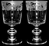 Safari Frieze - pair of Crystal Chalice wine glasses with a Safrai animals frieze