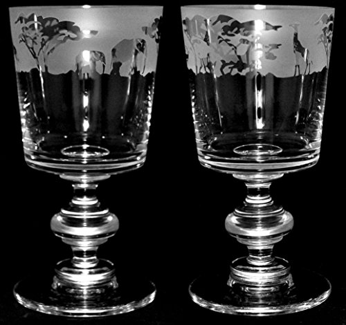 Safari Frieze - pair of Crystal Chalice wine glasses with a Safrai animals frieze by Animo Glass