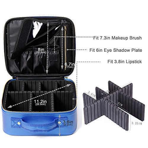 [Gifts for women] ROWNYEON PU Leather Makeup Case Mini Makeup Bag Portable Travel Makeup Bag EVA Makeup Train Case Best Gift For Girl (Blue Small) by ROWNYEON (Image #5)