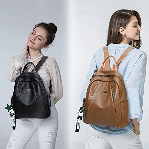 Backpack Purse for Women PU Leather Large Waterproof Travel Bag Fashion Ladies School Shoulder Bag brown by Cluci (Image #6)