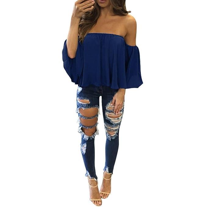 QinMM Blusa de Mujer con Hombros Descubiertos, Camiseta de Verano con Manga Corta Pullover (