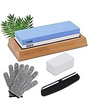 TWBEST Slipstensset, slipstensset, slipsten, dubbelsidig 1000/6000 Grit slipstenar med justeringssten, vinkelguide, bambubas, för metallblad slipa och polera