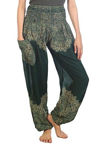 Lofbaz Harem Waist Boho Pilates Yoga Smocked Donna Colorato Pantaloni Floral Verde Scuro 1 OrSxfnO