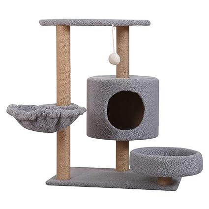 DJLOOKK Árbol rascador para Gatos Árbol de Gatos con Postes de rasguño Cubiertos de sisal y