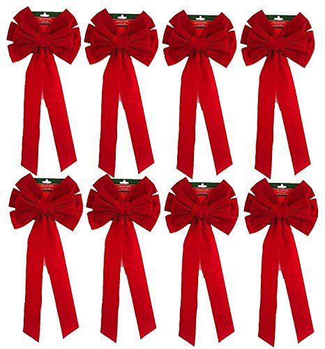 Pack Of 8 Red Velvet Bow 26'' Long 10'' Wide 10 Loop Holiday/Christmas Bow By Blue Green Novelty