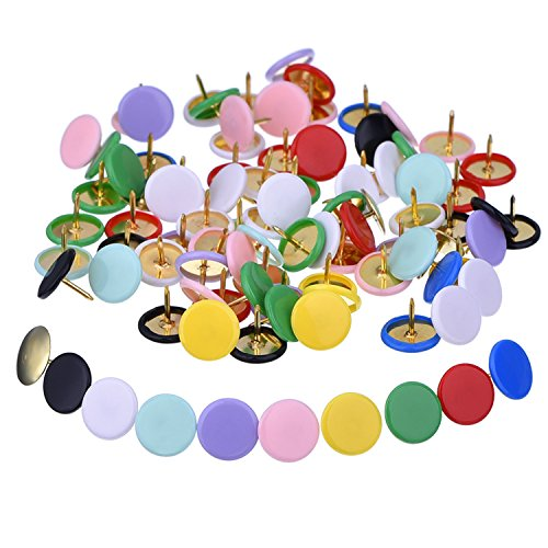 Outus 300 Pieces Steel Thumb Tacks Colored Drawing Pins Plastic Round Head Push Pin for Home, School, (10 Colors, 3/ 8 Inch, Each Color 30 Pieces)