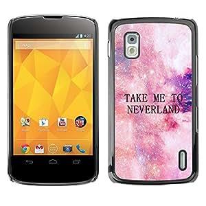 Lléveme a Neverland Estrellas Cosmos Cielo- Metal de aluminio y de plástico duro Caja del teléfono - Negro - LG Nexus 4 E960