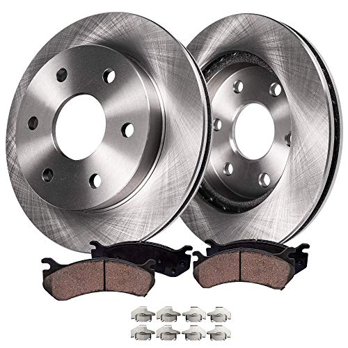 - Detroit Axle R-54100BK Rear Brake Disc Rotors and Ceramic Brake Pads Kit with Brake Hardware Clips for Driver and Passenger Side - 4-PC Set