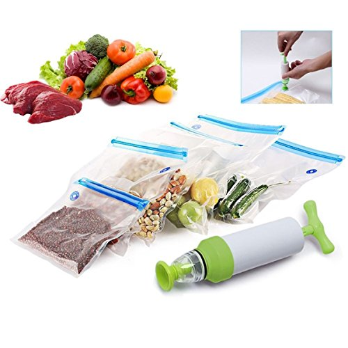 Bivan New Vacuum Sealer For Household Food Storage Bags With Pump Reusable Food Packages Kitchen Organizer(With 5 Vacuum Bags)