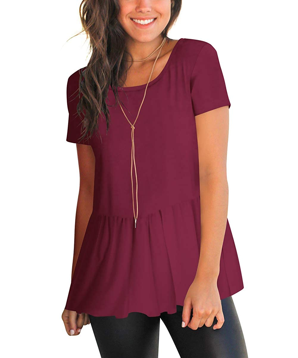 Burgundy FHKDL Womens Short Sleeve Shirts Blouses Open Back Casual T Shirt Flowy Tunic Tops