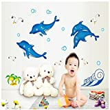 ORDERIN Christmas Gift Noctilucent Decal Dolphin Jumping Mural Removable Wall Stickers for Children Room Wall and Ceiling Decor