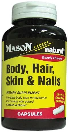 Mason Natural, Body Hair Skin & Nails Beauty Formula Vitamins, 60 Capsules (Pack of 3), Multivitamin Dietary Supplement With Biotin and Calcium Supports Healthy Hair, Skin, Nails and Overall Wellness