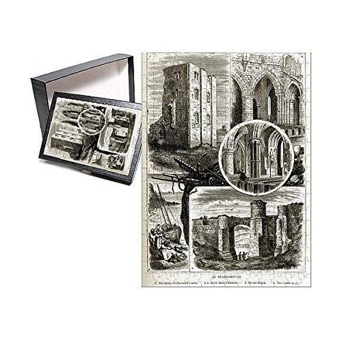 Media Storehouse 252 Piece Puzzle of Scarborough Landmarks in Yorkshire, England Victorian Engraving, 1840 (14617444) - Engraving England Antique