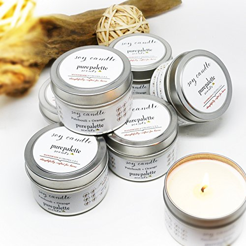 Bulk 6 Travel Tin - 4 Oz. Patchouli Orange Aromatherapy Natural Scented Soy Candle Handmade in Virginia, U.S.A