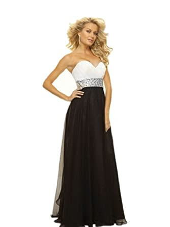 cacfcdfa6eb69 b87 black white Evening Dresses party full length prom gown ball dress robe  (10): Amazon.co.uk: Clothing