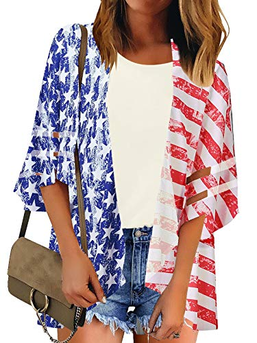 Utyful Women's American Flag Casual Off Shoulder Mesh Panel 3/4 Bell Sleeve Twist Knot Loose Blouse Top]()
