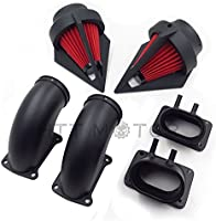 Amazon com: SMT MOTO- Black Dual Spike Air Cleaner Red