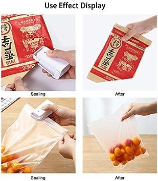 utilis/é pour le stockage des aliments rose mini machine /à sceller les aliments FANMU Machine /à sceller sous vide thermique /à usage domestique 2 couleurs aliment/é par piles