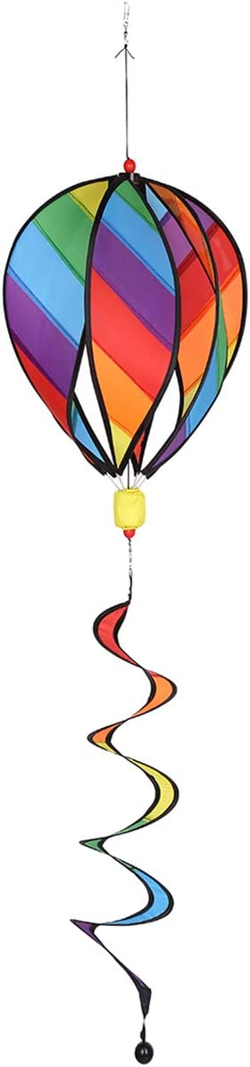 SHXH-US Rainbow Hot Air Balloon 6 Panel Wind Spinner Includes Colorful Tail