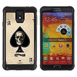 SHIMIN CAO@ Ace Spades Skull Black Poker Cards Rugged Hybrid Armor Slim Protection Case Cover Shell For Note 3 Case ,N9000 Leather Case ,Leather for Note 3 ,Case for Note 3 ,Note 3 case