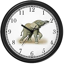 Baby African Elephant Wall Clock by WatchBuddy Timepieces (Black Frame)