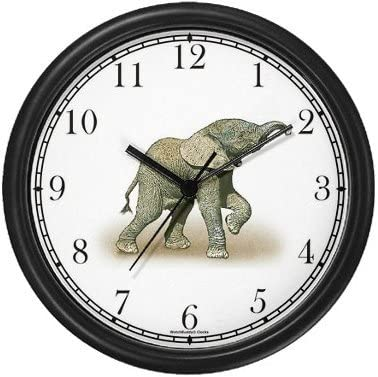 WatchBuddy Baby African Elephant Wall Clock Timepieces Black Frame
