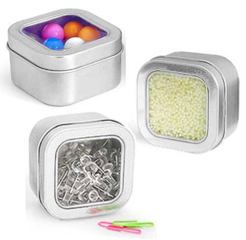 MagnaKoys Square Metal Tins w/Clear Top Lid Covers 4 oz & 8 oz (2, 2.56