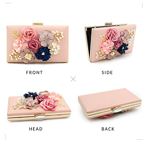 Milisente Women Flower Clutches Evening Bags Handbags Wedding Clutch Purse (Light Pink) by Milisente (Image #6)