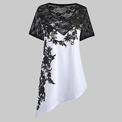 Elegante Taglia Weant Pizzo Camicie Tops Manica Sciolto Taglie Forti Tshirt Tunica Tee Abbigliamento Grande Estate Camicetta Maglietta Canotta Bianco Cime Cotone Blusa Donna pxRUwqp